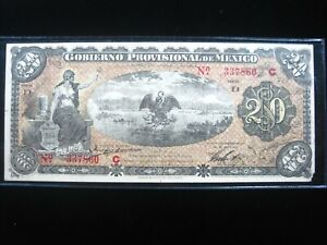 MEXICO VERACRUZ 20 PESOS 1914 SERIE D REVOLUTION WAR SHARP 7860# BANK MONEY