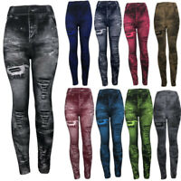 PLUS SIZE Woman Distressed Jean Denim Look Print Jeggings Leggings Stretch Pants