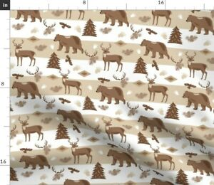 Woodland Forest Forest Wildlife Lake Lodge Style Spoonflower Fabric by the Yard