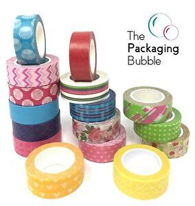 Washi Tape Pack Set Decorative Adhesive Masking Tape Blue Floral Flowers Green