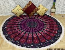 Red Color Beautiful Flower Print Mandala Design Big Roundies Beach Towel Round