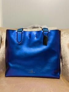 New Nwt COACH Large Derby Tote NASA HOLOGRAM F59388 Bag Handbag Metallic Blue