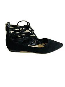 ZU Shoes Size 9 Sandals Black Velvet Tie Up Ballet Flats Alabama