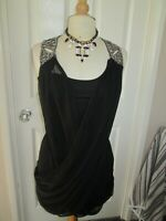 LIPSY BLACK EMBELISHED SHOULDERS CROSSOVER CHIFFON DRESS 10