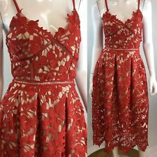 Love...Edy Medium Red Floral Lace Illusion Fit & Flare Pleated Corset Dress
