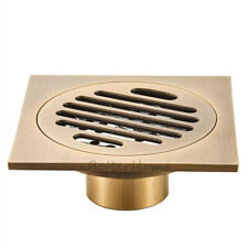 "Antique Brass Square 4"" Bathroom Shower Floor Drain Wet Room Waste Drainer Cover"