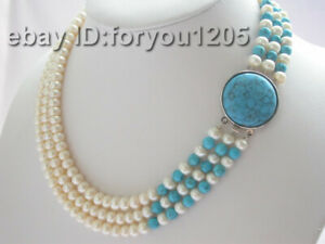 3rows Genuine Natural White Pearl Green Turquoise Necklace #c69!