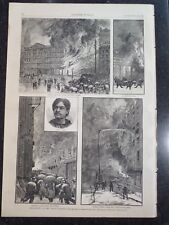 Fire Burning Of The World Building FDNY New York City Harper's Weekly Print 1882