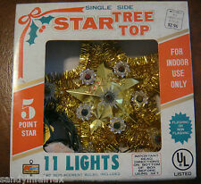 Vintage ~ Single Side Star Tree Top ~ 11 Multi Color Lights ~ Working ~ In Box
