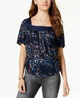 LUCKY BRAND Printed Floral Top NAVY S