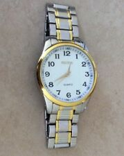 ROSRA Men's Watch Two Tone Stainless Steel Watch &Band White Dial Easy to Read!