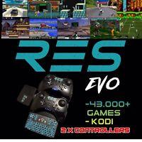 RES EVO Retro Gaming Console Games Emulator RetroPie Kodi Box 2x Controllers 64G