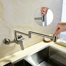Brass Brushed Nickel Pot Filler Kitchen Faucet Folding Swing Arm Wall Mixer Tap