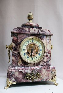 ANTIQUE 1860 FRENCH  PINK  MARBLE CLOCK  HEAVY JAPY FRERES MOVEMENT
