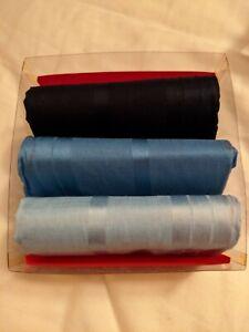 NEW Christian Dior Monsieur 3-Pack Men Hand Rolled Handkerchiefs Light Dark Blue