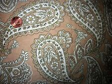 100% COTTON LAWN FABRIC vintage tan ivory paisley NEW WASHED lovely! $ per Yard