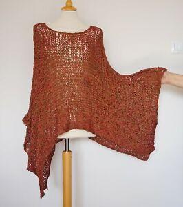 Barbara Speer Red Olive Orange Lagenlook Asymmetric Blouse Tunic Size:2