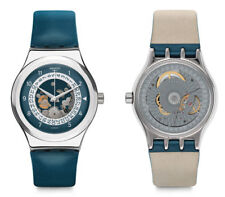 Swatch Sistem Through Automatic Watch YIS417 Analog Leather Blue