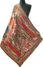 "Light Peach Red Black Large Kani Jamavar Shawl Wool  Cutwork Detailed 80""x40"""