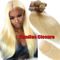 3BUNDLES with CLOSURE #613 Blonde Virgin Human Hair Weave Weft Brazilian THICK F