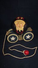 BRIERE Folk Art Pull Toy 1988 Uncle Sam Ball & Cart / Cradle #1563 ~ EXCELLENT