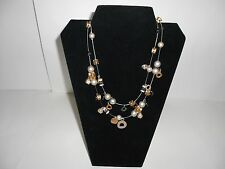 Women's Necklace, Gold & Silver Metals, Two Wire Strands, Steampunk