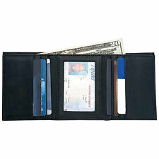 Mens Black Solid Genuine Leather Tri-Fold Wallet ID Credit Card Holder Billfold