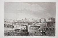Cincinnati Ohio Etats Unis gravure animée de bateaux à aube vers 1850