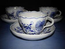 Meissen Zwiebelmuster Porzellan 3 Kaffeetassen mit 3 Untertassen ( NEUWERTIG )