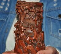 Chinese Boxwood wood Carved Plum blossom pine calligraphy Brush pot pencil vase