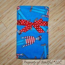 BonEful FABRIC Fleece VTG Blanket Quilt Throw 50X60 Where's Waldo Red White Blue