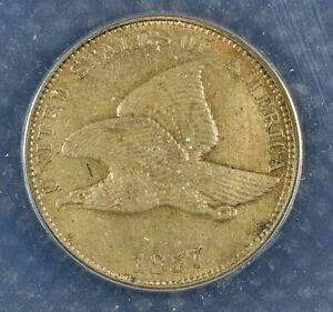 1857 FLYING EAGLE CENT ANACS CERTIFIED AU50