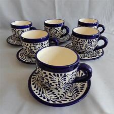 "Talavera White/Blue High Temperature Ceramic Cups w/Plates ""Nice"" Tonala Art"