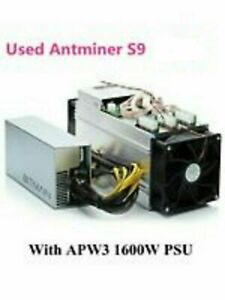 Bitmain Antminer S9 13.5Th ASIC Bitcoin Miner - PSU included, power cord and eth