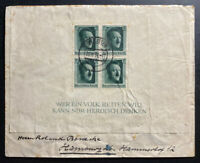 1937 Cottbus Germany Souvenir Sheet cover To Hamburg Germany