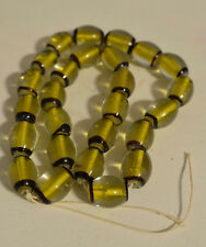 Beads Czechoslovakian Yellow Black Abstract Glass Beads