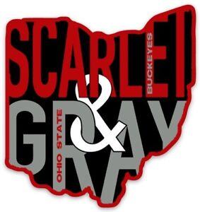 O.S.U. Ohio Outline Scarlet & Gray Type Ohio State Buckeyes Logo Die-Cut MAGNET