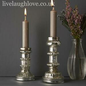Silver Glass Candlestick 11cm - 14.5cm