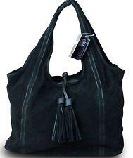 Made in Italy Luxus Damen Schultertasche Beuteltasche Shopper Wildleder Schwarz