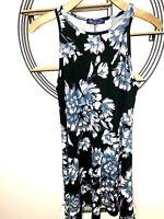 BNWT Ladies Black High neck Sleeveless Floral Knee Length Swing Dress Sz10/12