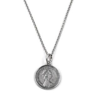 Collana con Ciondolo Moneta Sterlina One Pound del 1974 in Argento Sterling 925