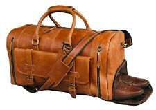Weekend Duffle Bag Canvas Overnight Leather Travel Duffel With Shoe Compartment