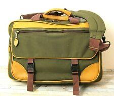 L.L. Bean KHAKI GREEN CANVAS BROWN LEATHER X-BODY SHOULDER BAG LAPTOP MESSENGER