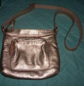 Fossil Cross Body Handbag Shoulder Bag Metallic Bronze Leather