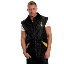 BLACK + YELLOW JACK ORTON MENS DIAMOND QUILTED GILET BODYWARMER SMALL BRAND NEW