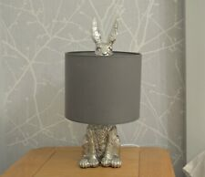 Hare Table Lamp Silver Sculptured Grey Shade