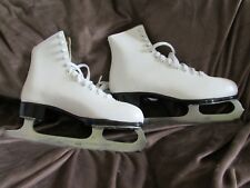 Lange Libra White Leather Figure Skates, Women's 7 - made in Canada