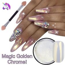 Nail Powder Golden Mirror Chrome Shimmer White Pearl Mermaid Nails UK Ceramic 2