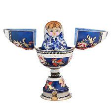Russian Faberge Music Egg Trinket Jewel Box with Matryoshka 6.5'' (16.5cm) blue