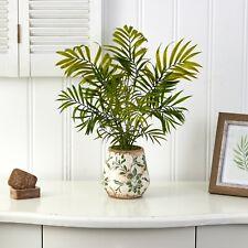 "18"" Mini Areca Palm Artificial Plant In Floral Vase"